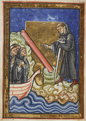 Miniature of St Cuthbert miraculously discovering a roof beam for his church in the waves of the ocean, from Chapter 21 of Bede's prose Life of St Cuthbert, England (Durham), 4th quarter of the 12th century, Yates Thompson MS 26, f. 45v. British Library