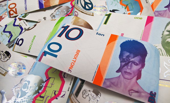 Brixton local currency featuring David Bowie, who was born in South London. Photograph by Charlie Waterhouse via Flikr: creative commons license.