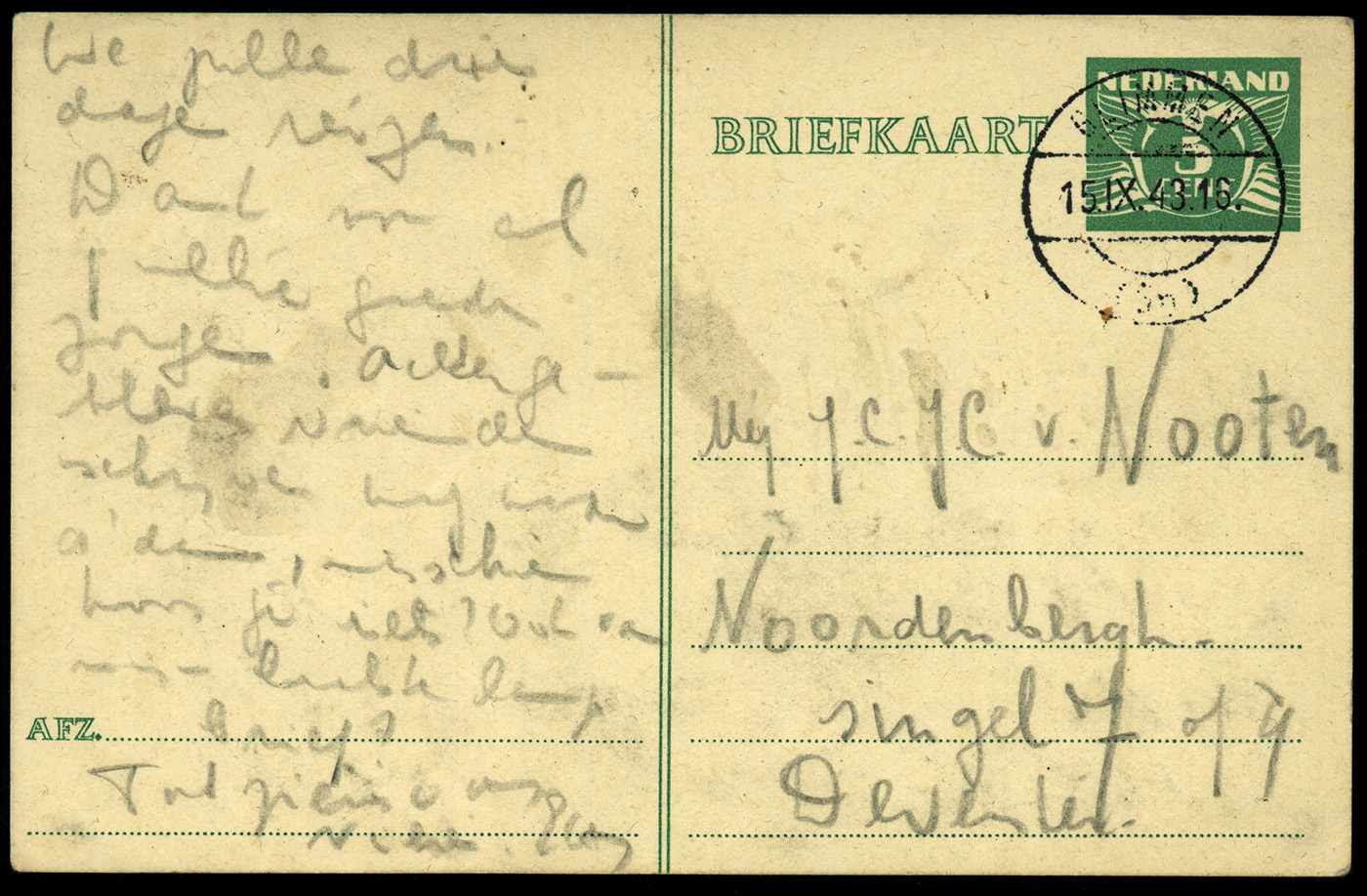 Postcard sent by Etty Hillesum as she left on the train to Auschwitz. Photograph from the collection at the Jewish Historical Museum, Amsterdam.