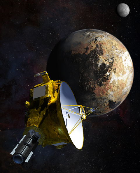 An artist's drawing shows the New Horizons spacecraft as it nears Pluto. The moon Charon is in the distance. NASA