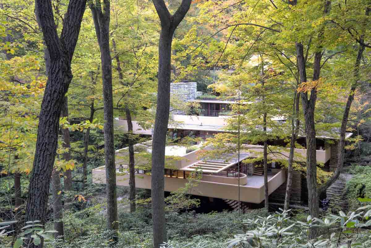Fallingwater seen through the woods. Photograph courtesy of the Western Pennsylvania Conservancy.
