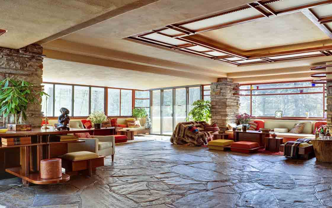 Inside Fallingwater. Photograph courtesy of the Western Pennsylvania Conservancy.