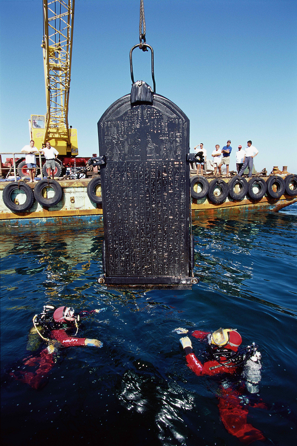 The Thonis-Heracleion Stele with the Decree of Sais, 380BCE. Photograph by Christoph Gerigk (c) Franck Goddio/HILTI Foundation