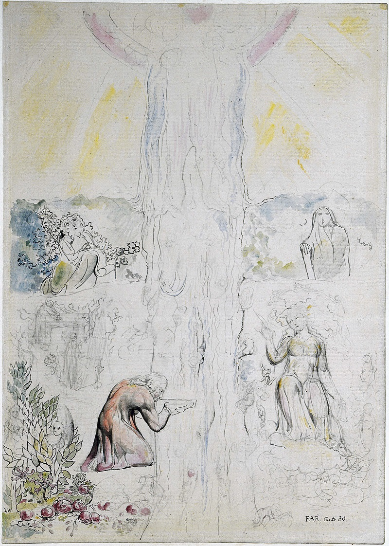 William Blake: Dante in the Empyrean Drinking at the River of Light. Via Wikimedia Commons