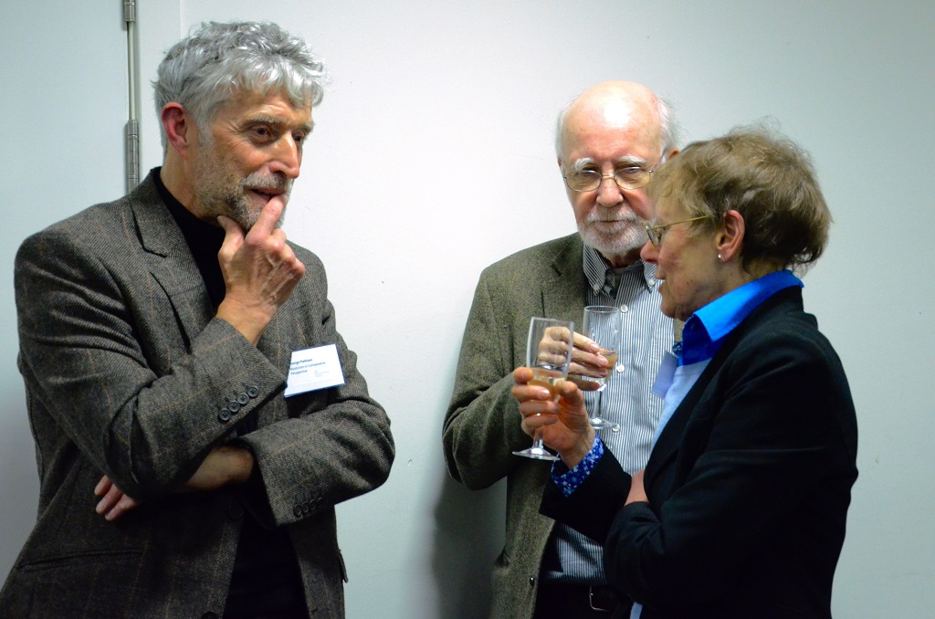 George Pattison, Bernard McGinn, Victoria Harrison, in conversation. Photographer: Pol Hermann