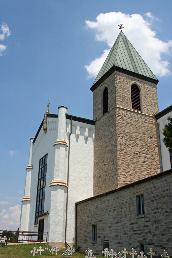 Church and Bell Tower at Gethsemani Abbey, Louisville, Kentucky, USA. Photograph by Erik Eckel via Wikimedia Commons.