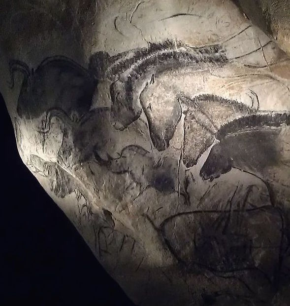Chauvet Cave: horses and bison. Photograph by Nachosan (own work), CC BY-SA 3.0, via Wikimedia Commons