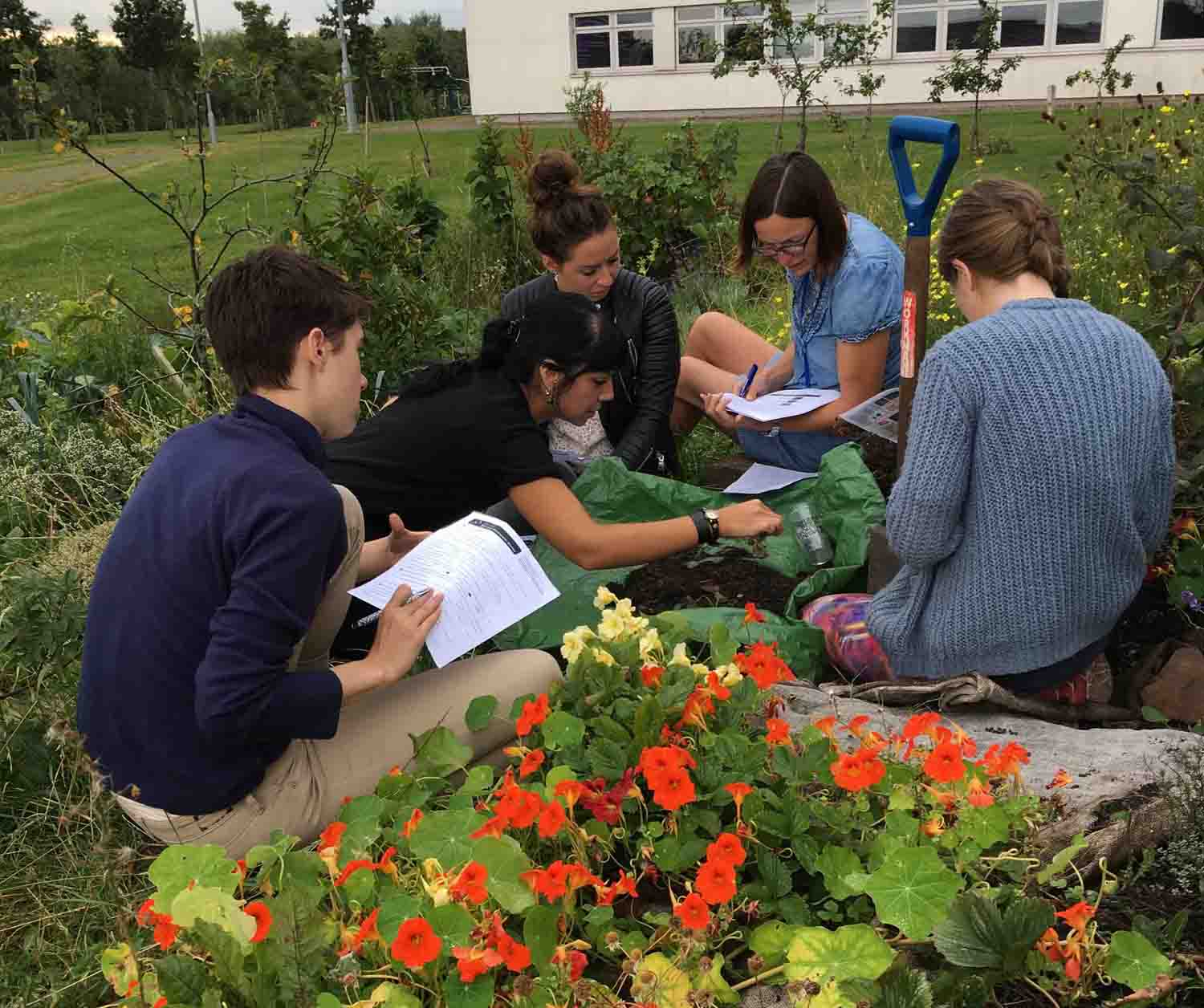 Students of Gastronomy at St Margaret's University, Edinburgh, investigate the qualities of soil. Photograph by Charlotte Maberly.