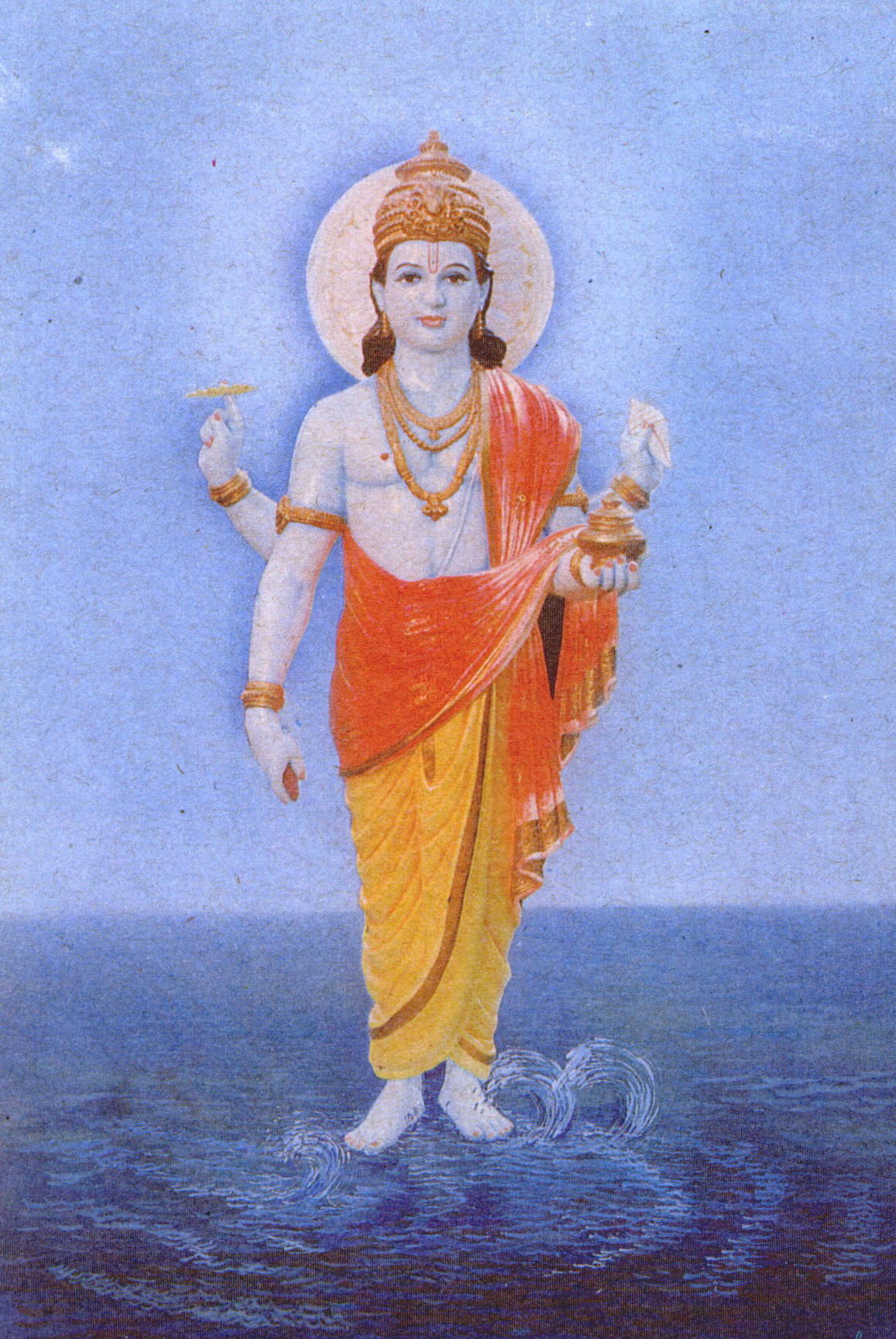 Lord Dhanvantari, who is considered the original sage or deity of Ayurveda, through whose grace and guidance the science can be learned. Traditionally in his four hands are: a leech, a vessel of immortality gaining nectar, a conch shell, and a sphere of energy. Here the fourth hand contains an unknown item, perhaps the famous haritaki fruit.