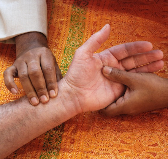 Taking the pulses, the primary diagnostic technique of Ayurveda.