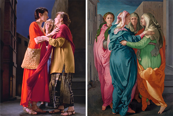 Bill Viola: The Greeting. Pontorno: The Visitation