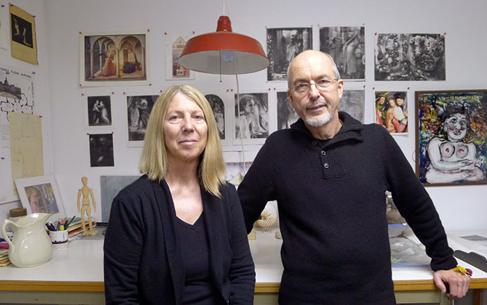 Bill Viola and Kira Perov in their studio