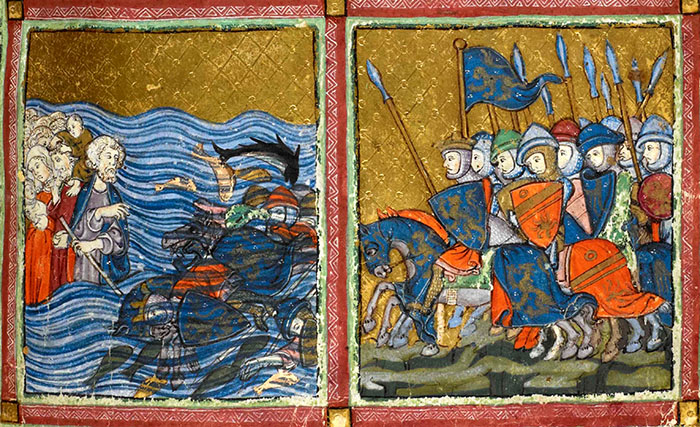 The Israelites escape over the Red Sea, while Pharaoh and his army drown, Add.27210, f.14v Copyright The British Library Board. From The Golden Haggadah, created in Spain during the 1300s for a wealthy Jewish family in Barcelona. A haggadah, which literally means 'telling' is a prayer book that is used during the Jewish festival of Passover.