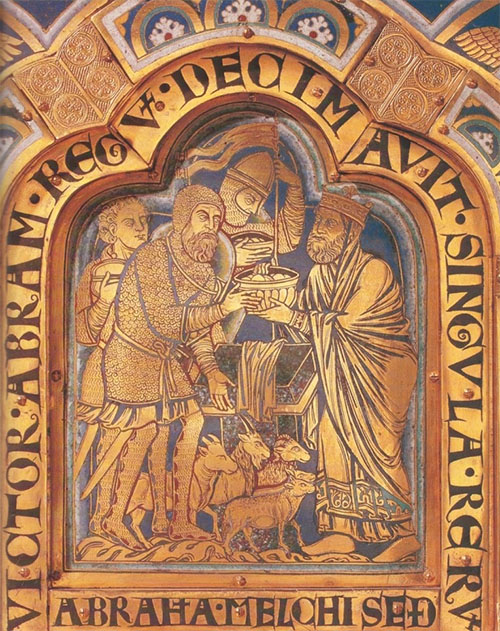 Melchizedek initiating Abraham. Gold and enamel altar plaque by Nichola de Verdun at Klosterneuberg, Austria, 12th century. © Erich Lessing / lessingimages.com