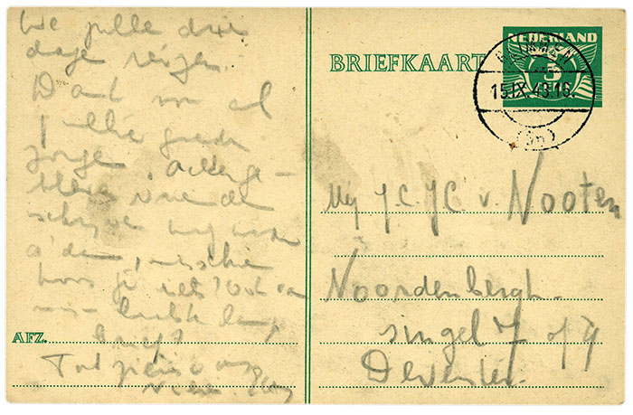 Postcard sent by Etty Hillesum
