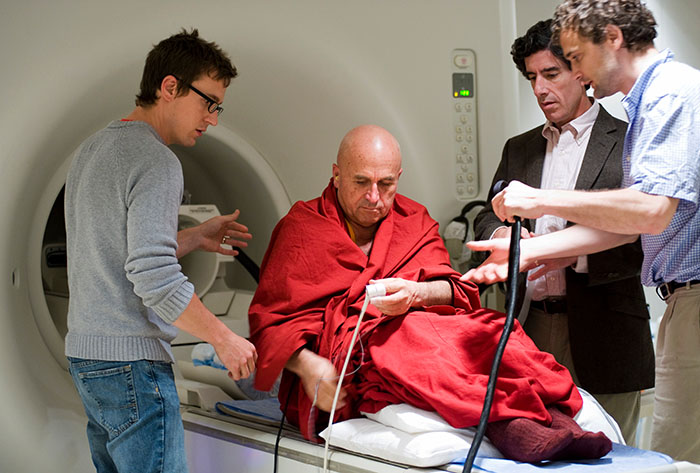 Buddhist monk Matthieu Ricard is prepared for a functional magnetic resonance imaging
